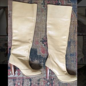 Stuart Weitzman knee high nude leather/nylon boots